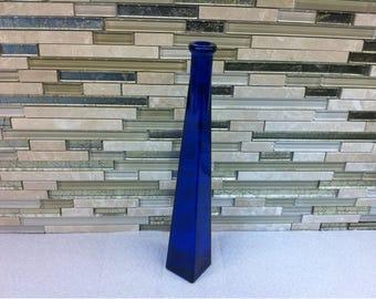 Cobalt Blue Glass Square Bottle. Blue Glass Bottle. Cobalt Blue Bottle. Collectible Decorative Cobalt Blue Glass Bottle / Bud Vase Flower