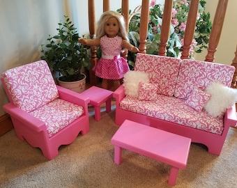 Good Livingroom Set For American Girl Doll (Pink Flower) Part 19