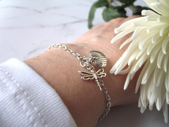 Silver Chain Bracelet with Sterling Heart and Dragon Fly Charms on a Silver Plated Chain with Stardust Ball Clasp