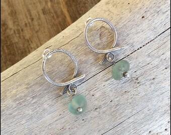 Circle shape Earrings Sterling Silver Reticulated Burnished Studs Seafoam sea glass Earrings Minimal Earrings Elegant earrings