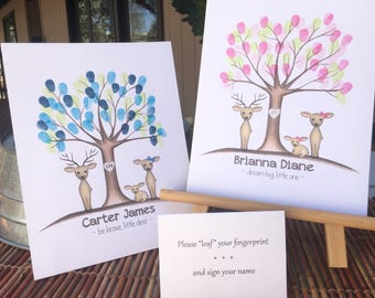 PRINTABLE! baby shower printable, personalized Thumb print tree, Fingerprint guest book, oh deer themed baby shower finger print tree