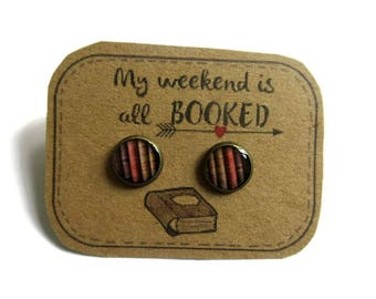 BOUCLES D'OREILLES, boucles d'oreilles livres, boucles d'oreilles livres vintage,bijoux livre, cadeau écrivain, cadeau lecteur, litterature