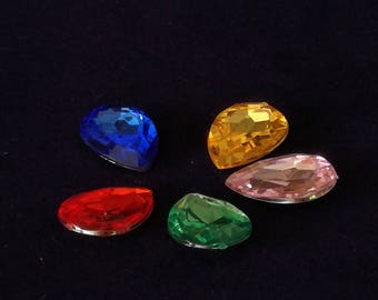 Cabochons faceted jewellery creations mixed color drop
