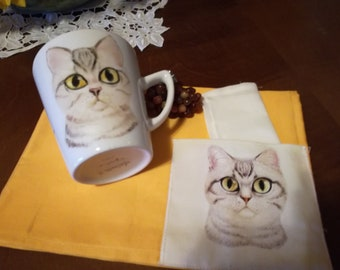 Hand painted porcelain mug with cat and matching napkin