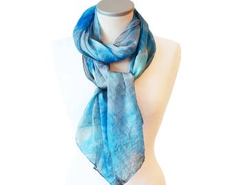 Hand painted scarf blue- Silk scarf- Blue shibory scarf- Abstract scarf- Scarves for women- Blue grey scarf- Womens scarfs- Silk scarf wrap