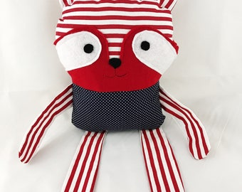 Romeo the Raccoon Patriotic Collection - Plush Raccoon Red White and Blue - Stripes and Polka Dots - ONLY ONE AVAILABLE