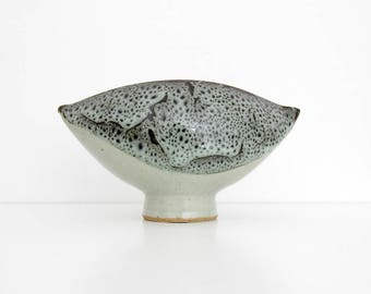 Vintage Vase or Footed Bowl // Venus Studio Pottery Modernist Stoneware // MCM Abstract Glazed Art Pottery