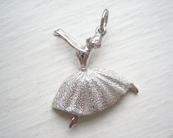 Vintage sterling silver ballerina charm, silver ballet dancer charm, silver ballet charm, silver ballet pendant
