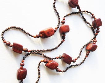 Wood Necklace - long necklace with wooden wood beads