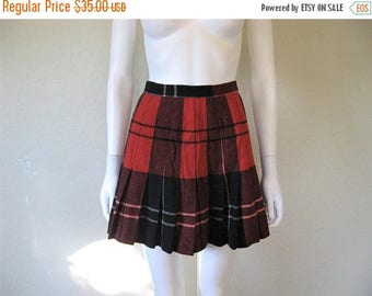 25% off SALE Wool Plaid Pleated Short high Waist Skirt