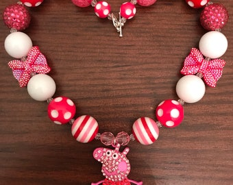 Peppa Pig Inspired Bubble Gum Necklace (Child/Toddler)