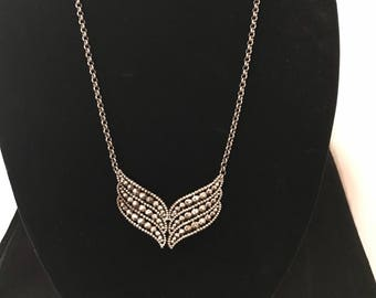 Vintage victorian Steel cut dress buckle necklace