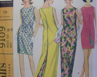 UNCUT Vintage 1960s McCall's 9109 WRAP-AROUNDER Dress in 3 lengths Pattern size 18  Bust 40