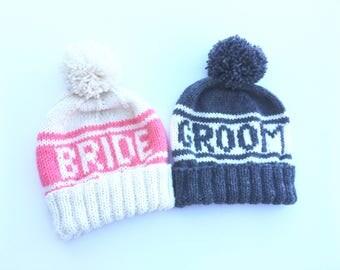 Bride and Groom Beanie Set, Retro Styled Beanies for Wedding Photo Props, Winter Wedding Hats, Retro Sports Beanies, Snowboard Wedding