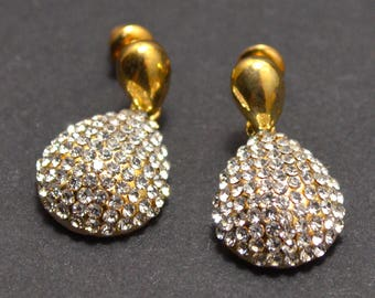 Gold drop pendant earrings
