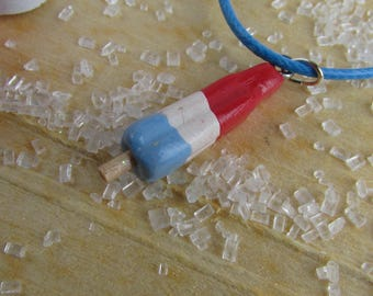 Popsicle Necklace, Red White & Blue Popsicle Necklace, Summer Popsicle Necklace, Popsicle Jewelry, Food Jewelry, Food Necklace, Popsicle