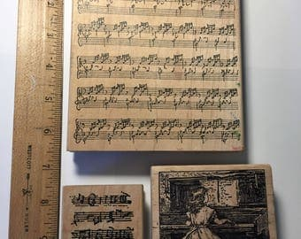 Rubber Stamps, 3 Stamps,Music, Musical Notes, Piano, Used, Wood Mounted, Grab Bag,Destash.