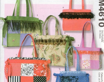 McCall's Fashion Accessories Pattern 4610 FRINGED/CONTRAST TOTES