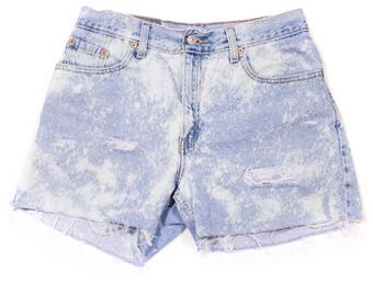 Levis High Waisted Distressed Denim Shorts