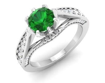 Emerald Engagement Ring | 14K White Gold, Rose Gold | Emerald With Diamond Engagement Ring | Diamond Gold Ring | Natural Emerald Ring | Gift