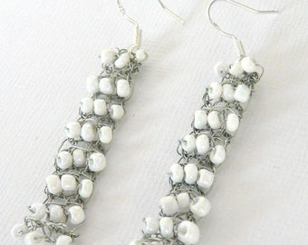 Long white earrings crochet shipping charges