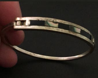 "Mexican Silver & Mother-of-Pearl/Obsidian Inlay Bracelet, Vintage Hinged Bangle Bracelet, Silver Bangle, MOP, Abalone, 2.25"" x 2"" Opening"