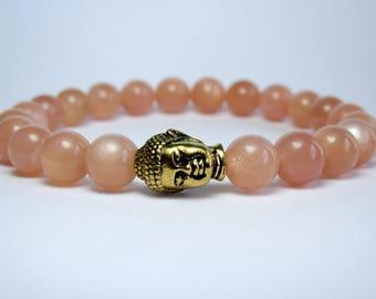 Sunstone Buddha Bracelet, Beaded Bracelet, Gemstone Bracelet, Yoga Bracelet, Mala Bracelet, Womens Bracelet, Sunstone Bracelet