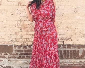 Gorgeous 70's Does 30's Sleeveless Floral Chiffon Maxi Dress SMALL/MEDIUM
