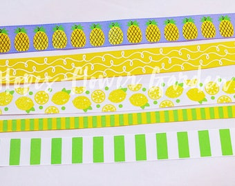 "3 Yards 7/8"" Feeling Fruity Lemon and Pineapple Ribbon Birthday Bow, YOU Pick Ribbon Print, High Quality US Designer Ribbon - Summer Prints"
