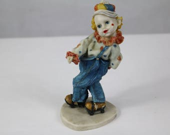 Vintage Clown Ornament, Clown on roller skates, figurine