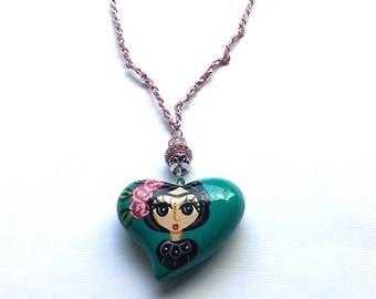 Frida Kahlo heart pendant necklace, Frida Kahlo chain necklace
