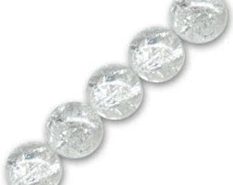 10 x 4 mm clear Crackle Glass round beads