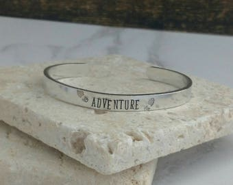 Adventure hiking bracelet  - travel - walking jewellery - adjustable - handstamped - unisex