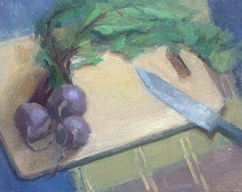 Groovy Beets Original Oil Painting by Bhavani Krishnan Beets with leaves on a cutting board Kitchen Art vegetables 8x10 inches Canvas Panel