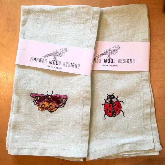 Bug Napkins- set of two- extra large size 100% Linen