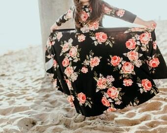 Girls' Vermillion Floral Bespoke Dress