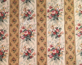 Cream floral fabric - floral stripe fabric - oatmeal and pink floral fabric
