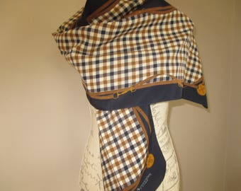 "Vintage Aquascutum 80's scarf, 58"" x 9.5"",  Little wear VGC Navy blue, ivory, brown, made in England"