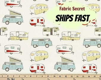 Camper Fabric by the YARD retro vintage antique classic Premier Prints formica macon natural Home Decor upholstery curtain SHIPsFAST