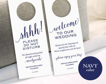 Navy Wedding Door Hanger, Please Do Not Disturb Door Hanger, Door Hanger Printable, Wedding Printable, PDF Instant Download, MM01-4