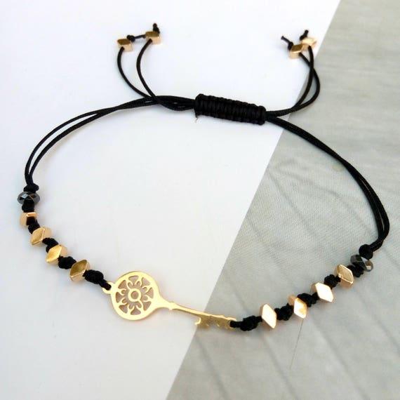 Stainless steel key bracelet, key bracelet, hematite bracelet, macrame bracelet, key cord bracelet, adjustable bracelet, gift for her