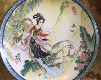 Chinese Hand Painted Imperial Jingdezhen Porcelain Plate Signed by the Artist, Master Artisan Chinese Hand Painted Imperial