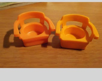 2 Fisher Price Little People Orange Arm Chairs