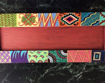 """Hand Painted Bohemian Wood Quilt Design Candle Holder  2""""Hx18""""Wx 7""""D   C0035"""