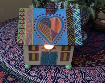 "Hand Painted Bohemian Wood Bird House Night Light  8""Wx9""Hx7""D  X0154"