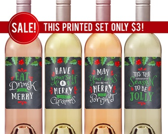 Christmas Wine Labels - Holiday Wine Label - Eat Drink and Be Merry - Tis The Season - Christmas Gift - Christmas Wine - Hostess Gift