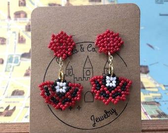 Red and Black Huichol Inspired Abanico Earrings