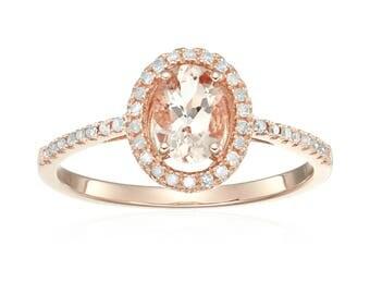 14k Rose Gold Morganite & Diamond Engagement Ring, Size 7