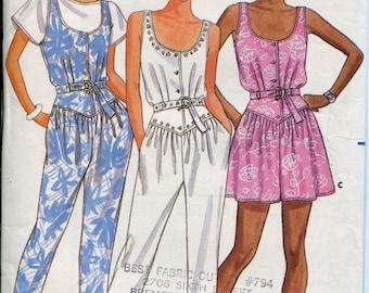 Jumpsuit Pattern Mini Dress Patterns Shorts Pattern Butterick 5604 Womens Sewing Pattern Sz 6-10, uncut