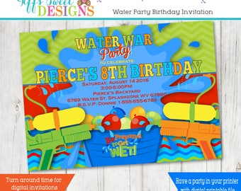 Backyard Water Party Invitation - Water War Invitation - Water Fight Invitation - Water Gun - Squirt Gun - Water Balloon -